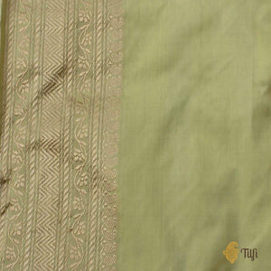 Light Lime Green Pure Katan Silk Banarasi Handloom Saree