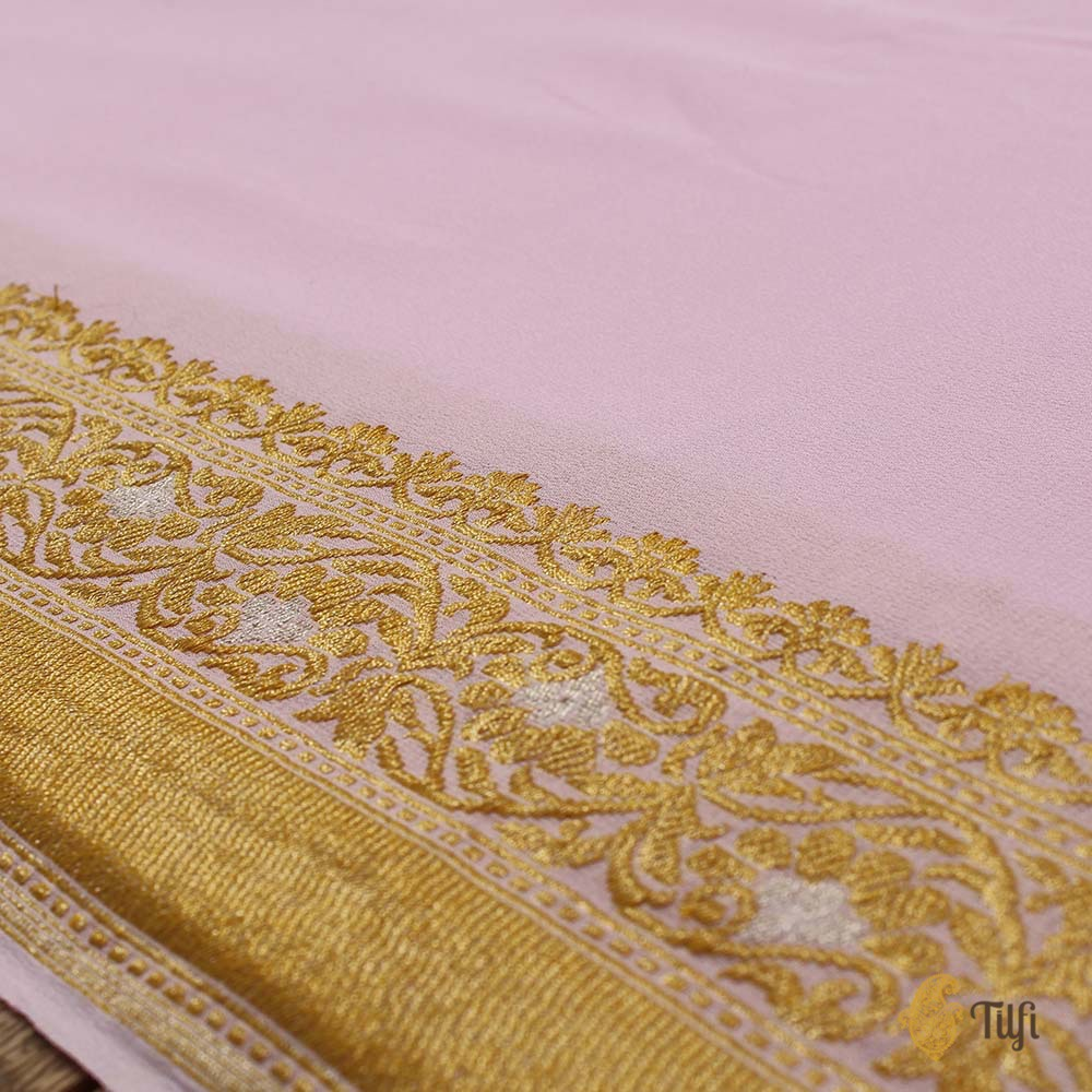 Light Grey-Pink Ombré Pure Georgette Banarasi Handloom Saree