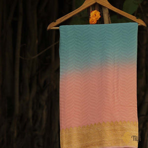 Light Pink-Aqua Blue Ombré Pure Georgette Banarasi Handloom Saree