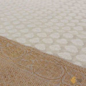 White Pure Cotton Handwoven Banarasi Saree
