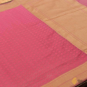 Bright Coral Pink Pure Cotton Handwoven Banarasi Saree