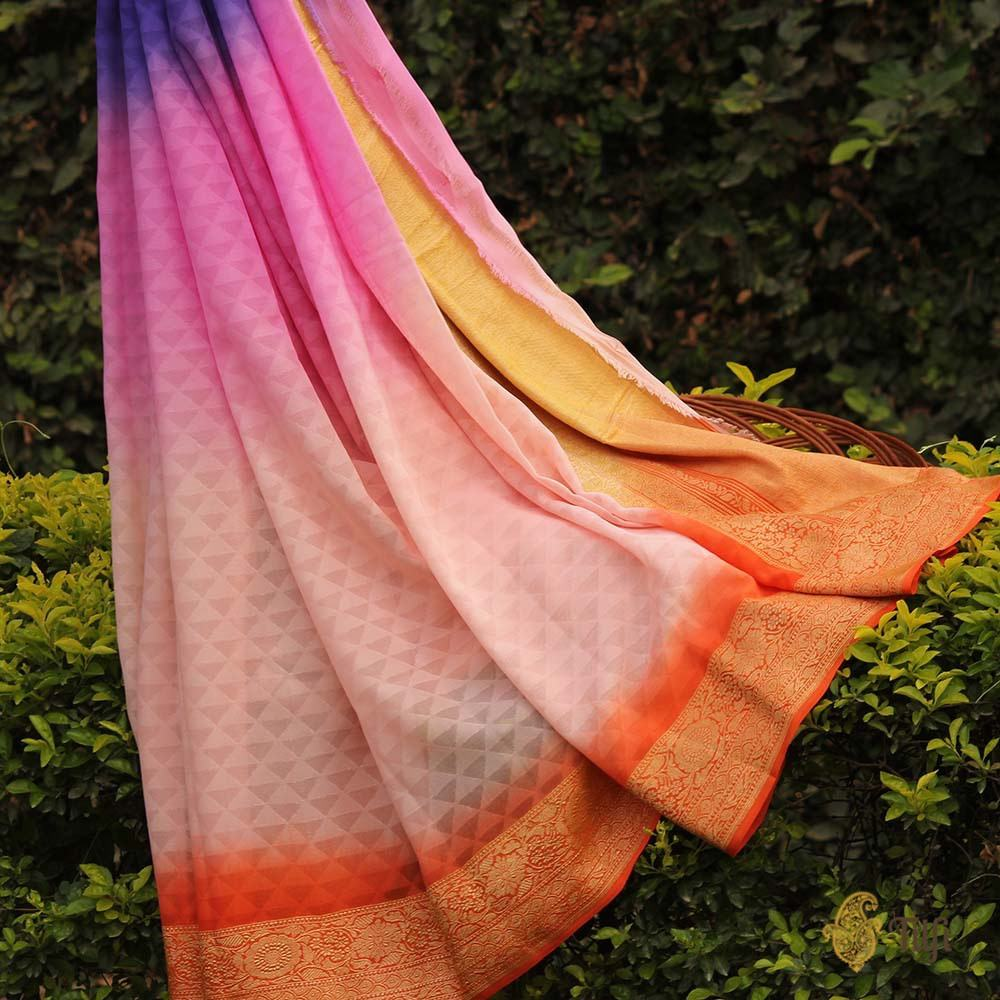 Multicoloured Ombré Pure Georgette Banarasi Handloom Saree