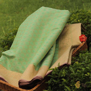 Light Pista Green-Aqua Green Pure Cotton Handwoven Banarasi Saree