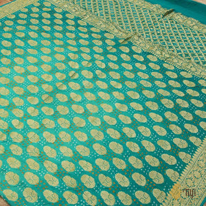 Turquoise Blue Ombré Pure Georgette Banarasi Bandhani Handloom Saree