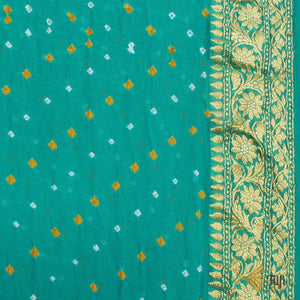 Lemon Green-Deep Ferozi Blue Ombré Pure Georgette Banarasi Bandhani Handloom Saree