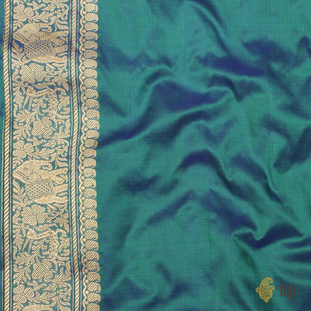 Royal Blue-Green Pure Katan Silk Banarasi Handloom Saree