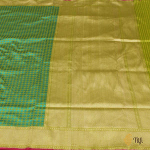 Green-Turquoise Blue Pure Katan Silk Banarasi Handloom Saree