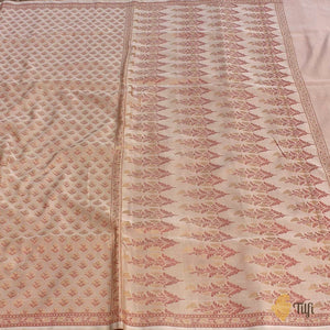 White-Peach Pure Soft Satin Banarasi Handloom Saree
