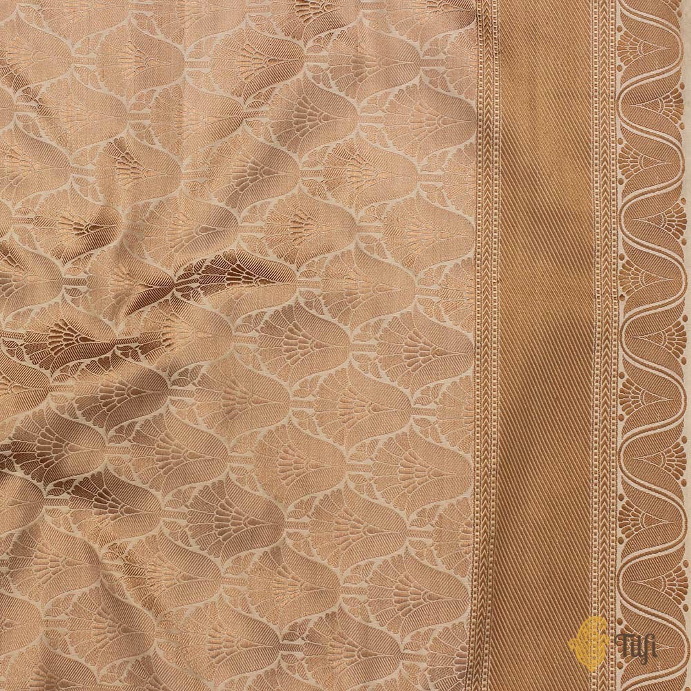 Light Beige Pure Soft Satin Silk Banarasi Handloom Saree