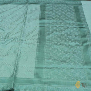 Aquamarine Green Pure Soft Satin Silk Banarasi Handloom Saree