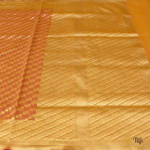 Light Orange Pure Cotton Banarasi Handloom Saree