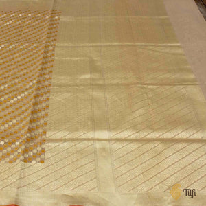 Cream Pure Cotton Banarasi Handloom Saree