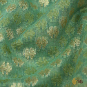 Aqua Green Pure Cotton Banarasi Handloom Saree