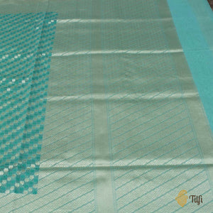 Light Turquoise Blue Pure Cotton Banarasi Handloom Saree