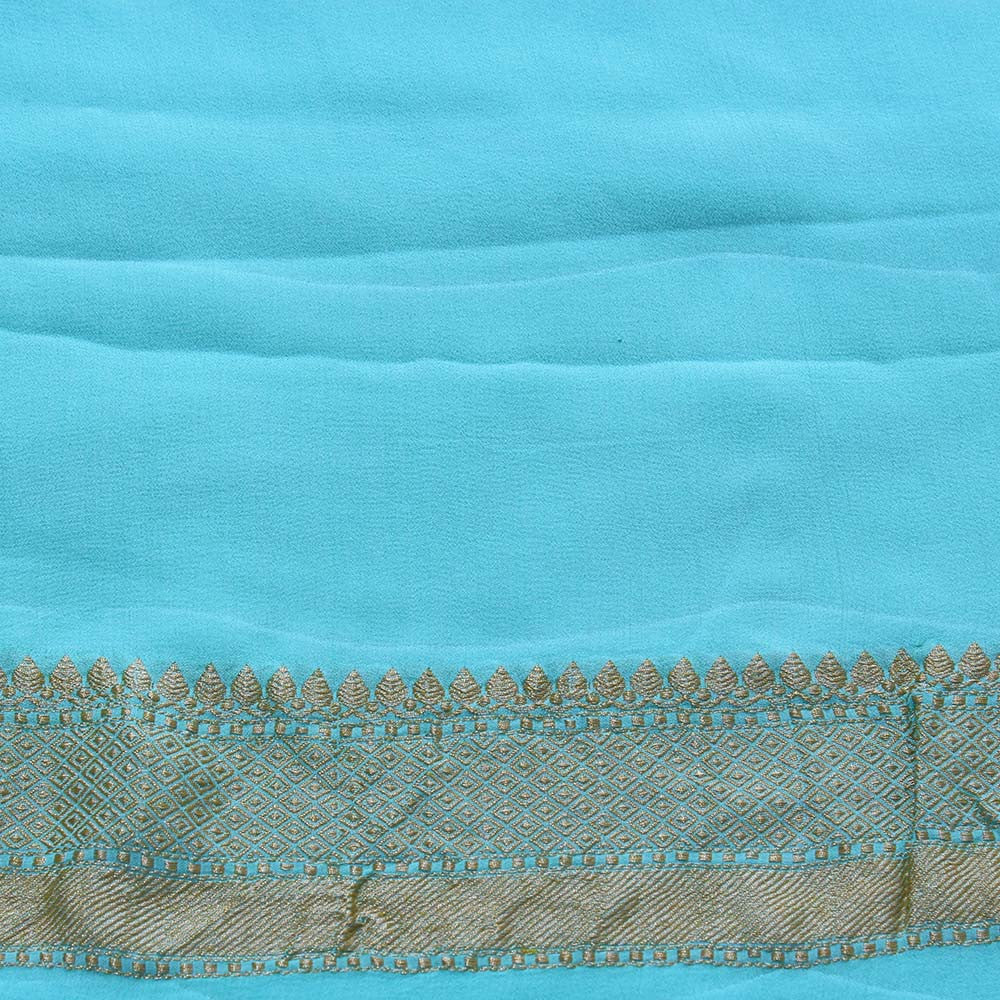 Mint Blue Pure Chiffon Georgette Banarasi Handloom Saree