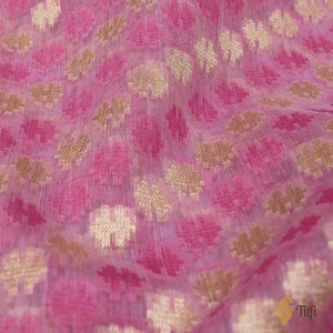 Light Pink Pure Cotton Banarasi Handloom Saree