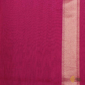 Rani Pink Pure Cotton Banarasi Handloom Saree