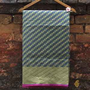 Olive Green Pure Cotton Banarasi Handloom Saree