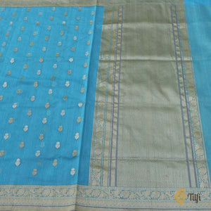 Ferozi Blue Pure Cotton Banarasi Handloom Saree