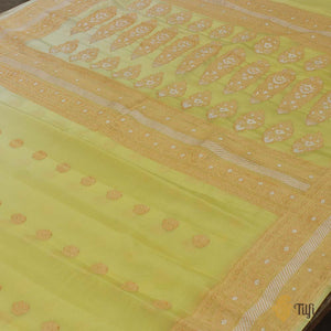 Light Lemon Yellow Ombre Pure Georgette Banarasi Handloom Saree