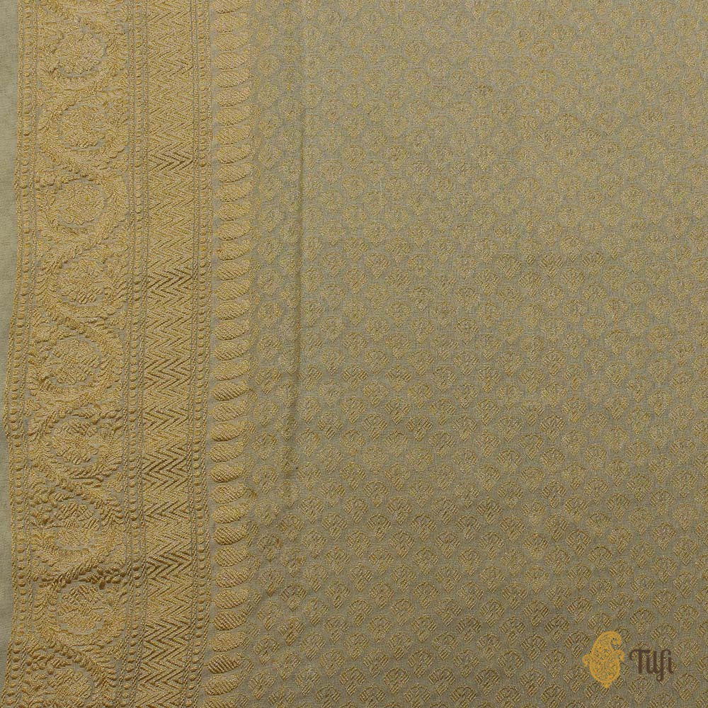 Baby Pink-Light Lemon Yellow Pure Georgette Banarasi Handloom Saree