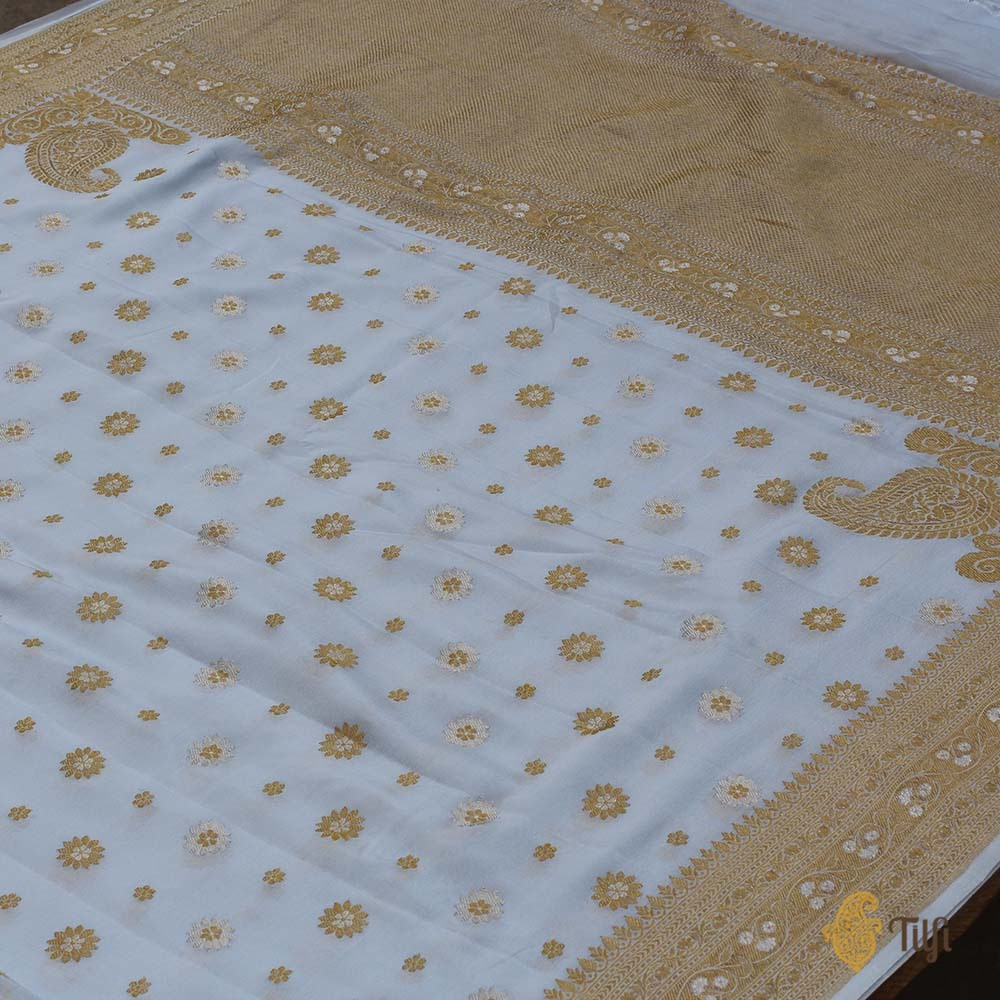 Alice Blue Pure Georgette Banarasi Handloom Saree