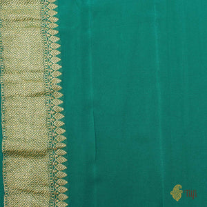 Light Sky Blue-Teal Green Pure Georgette Banarasi Handloom Saree