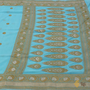 Ferozi Blue Pure Georgette Banarasi Handloom Saree