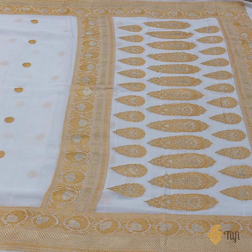 White Pure Georgette Banarasi Handloom Saree
