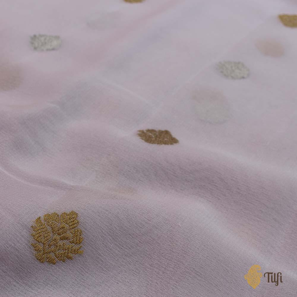 Light Baby Pink Pure Georgette Banarasi Handloom Saree