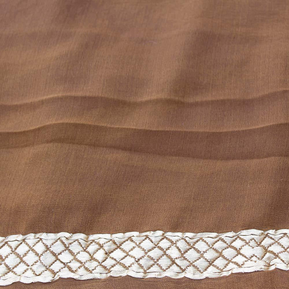 Brown Ombre Pure Chiffon Georgette Banarasi Handloom Saree