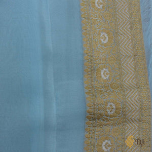 Baby Blue Pure Georgette Banarasi Handloom Saree