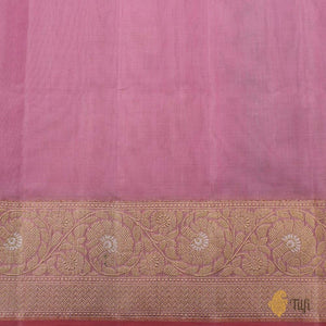 Light Rose Pink Pure Kora Silk by Cotton Banarasi Handloom Saree