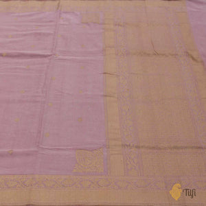 Light Gajri Pink Pure Cotton Ektara Banarasi Handloom Saree