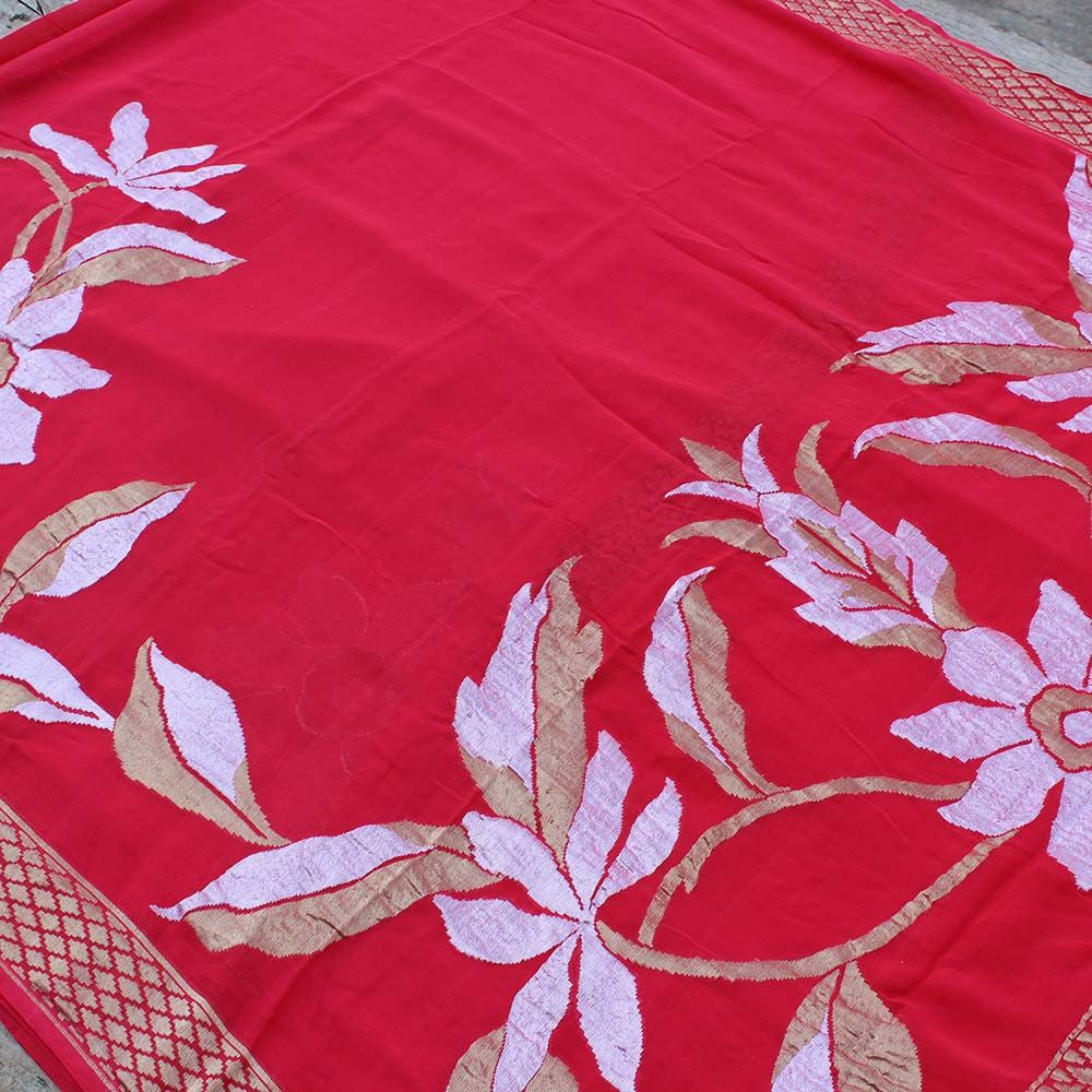 Red Pure Chiffon Georgette Banarasi Handloom Saree
