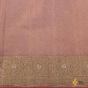 Light Peach Pure Kora Silk by Cotton Banarasi Handloom Saree