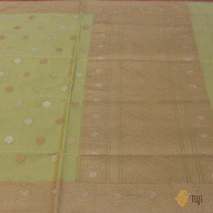 Light Lemon Green Pure Kora Silk by Cotton Banarasi Handloom Saree