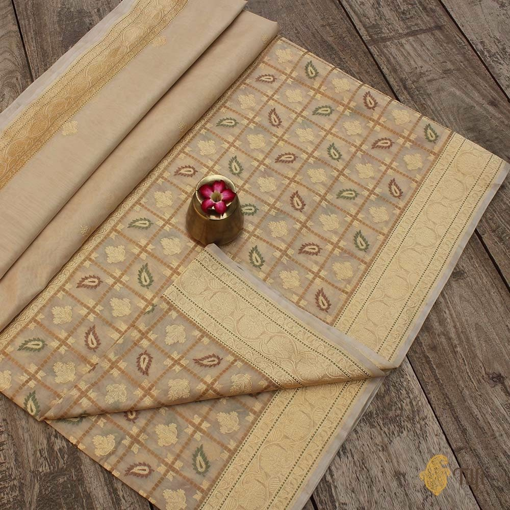 Beige Pure Kora Silk by Cotton Banarasi Handloom Saree