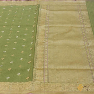 Green Pure Cotton Banarasi Handloom Saree