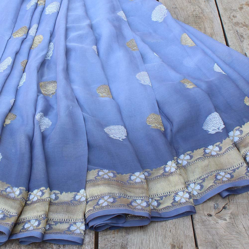 Blue-Grey Ombre Pure Chiffon Georgette Banarasi Handloom Saree