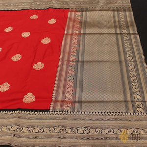 Red-Black Pure Katan Silk Banarasi Kadiyal Handloom Saree