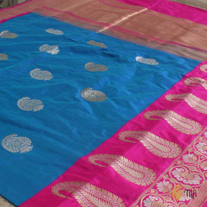 Turquoise Blue-Royal Blue Pure Katan Silk Banarasi Handloom Saree