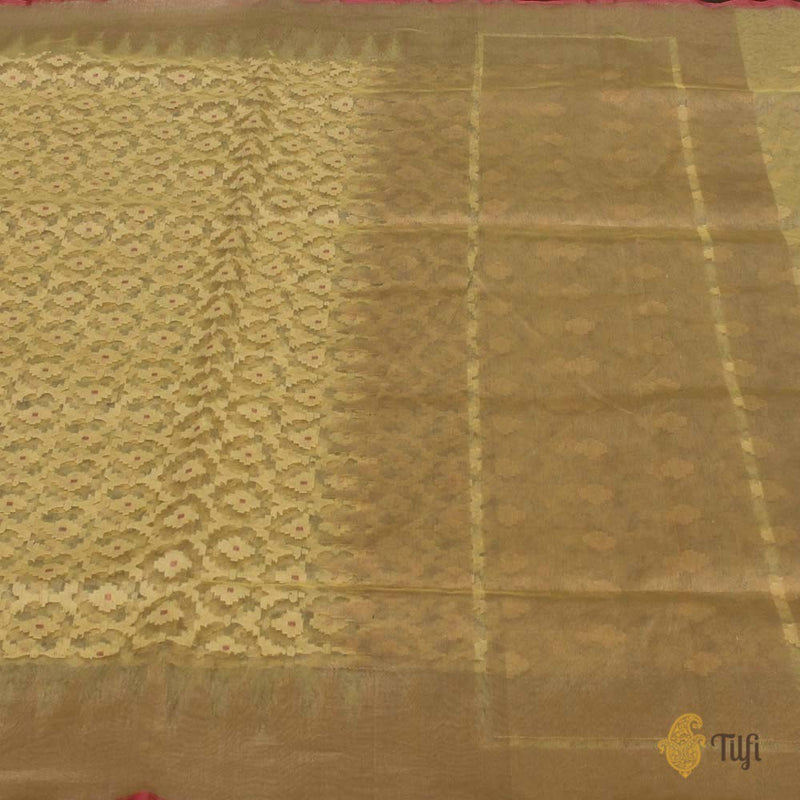 Mint Yellow Pure Kora Tissue Silk Net Banarasi Handloom Saree