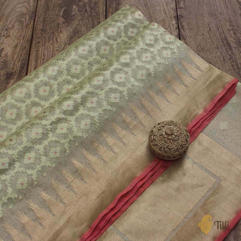 Light Sage Green Pure Kora Silk Tissue Net Banarasi Handloom Saree
