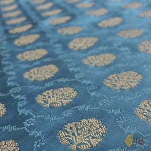 Carolina Blue Pure Soft Satin Banarasi Handloom Saree