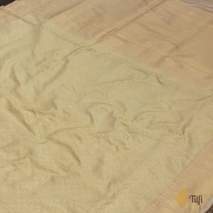 Beige-Cream Pure Katan Silk Banarasi Handloom Saree