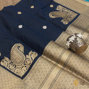 Black-Navy Blue Pure Katan Silk Banarasi Handloom Saree