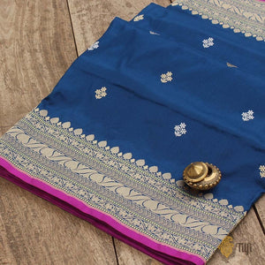 Midnight Blue Pure Katan Silk Handloom Banarasi Saree