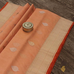 Off-White - Peach Pure Kora Silk Handwoven Banarasi Saree