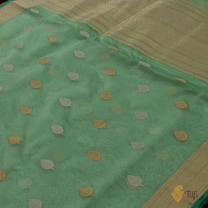 Sea Green Pure Kora Silk Handwoven Banarasi Saree
